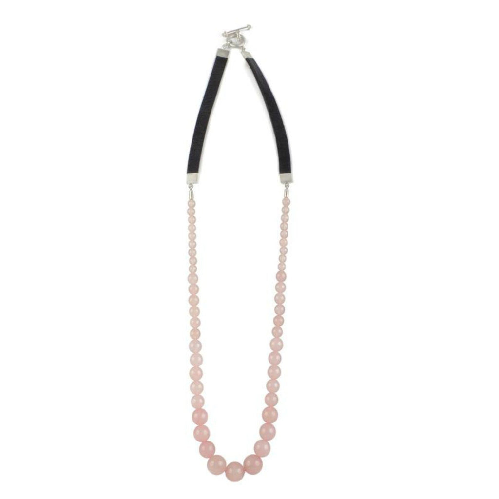 Necklace - Antika - Rose Quartz Bead and Leather - Beksan Designs
