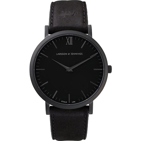 Larsson & Jennings Lader Svart large black-plated and leather watch 40mm