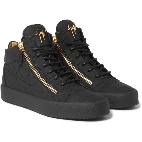 Giuseppe Zanotti Rubberised Croc-Effect Leather High-Top Sneakers