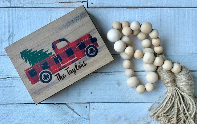 Farmhouse Decor, Little Red Truck, Buffalo Check Decor, Christmas Tree Truck, Red Truck Sign, Personalized Red Truck, Red Truck Decor