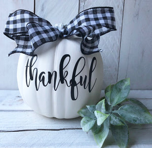 Farmhouse Fall Decor, White Decorated Pumpkin, Pumpkin Decor, Halloween Decor, Fall Decor, Painted Pumpkin, Family Pumpkin,Farmhouse Pumpkin