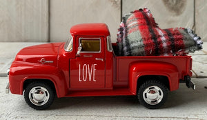 Red Metal Farm Truck, Personalized Truck, Farmhouse Truck, Metal Farm Truck, Plaid Hearts, Valentines TruckTruck, Metal Truck Decor