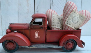 Valentines Truck, Personalized Red Truck, Personalized Truck, Red Metal Truck, Large Farm Truck