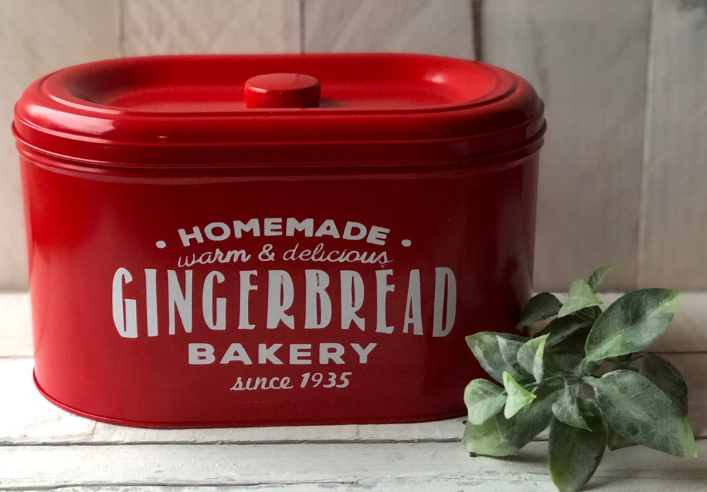 Farmhouse Christmas Decor,Farmhouse Bread Box, Metal Cookie Tin, Farmhouse Kitchen Decor, Christmas Cookie Tin,Gingerbread Tin, Bakery Decor