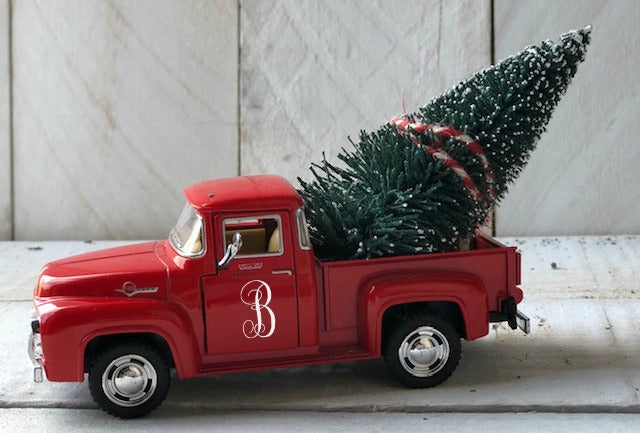 Little Red Farm Truck, Christmas Tree Truck, Farmhouse Christmas Decor,Farm Truck Tree, Personalized Truck