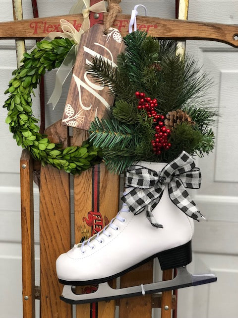 Decorated Ice Skate, Ice Skate Hanging, Christmas Figure Skate, Buffalo Plaid Decor, Farmhouse Decor, Winter Decor, Decorated Skate