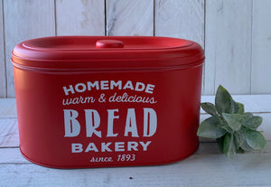 Farmhouse Kitchen Decor, Retro Bread Box, Bread Tin, Bakery Box, Pantry Storage, Personalized Tin, Farmhouse Bread Box