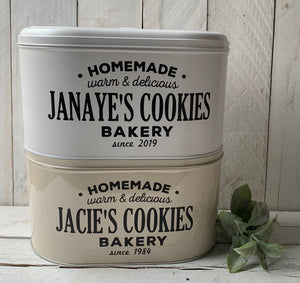 Personalized Large Cookie Tin, Personalized Bakery Box, Personalized Cookie Tin, Bread Box