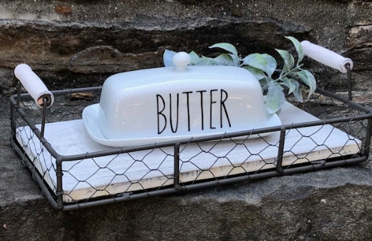 Farmhouse Butter Dish, Ceramic Butter Dish, Farmhouse Kitchen Decor, Butter Dish