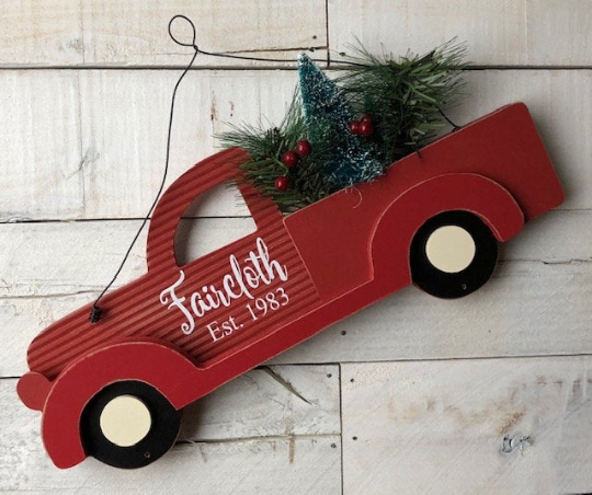 Farmhouse Red Truck Christmas Tree Sign, Farmhouse Christmas Decor, Little Red Truck Decor, Personalized Red Truck Sign, Red Truck Sign