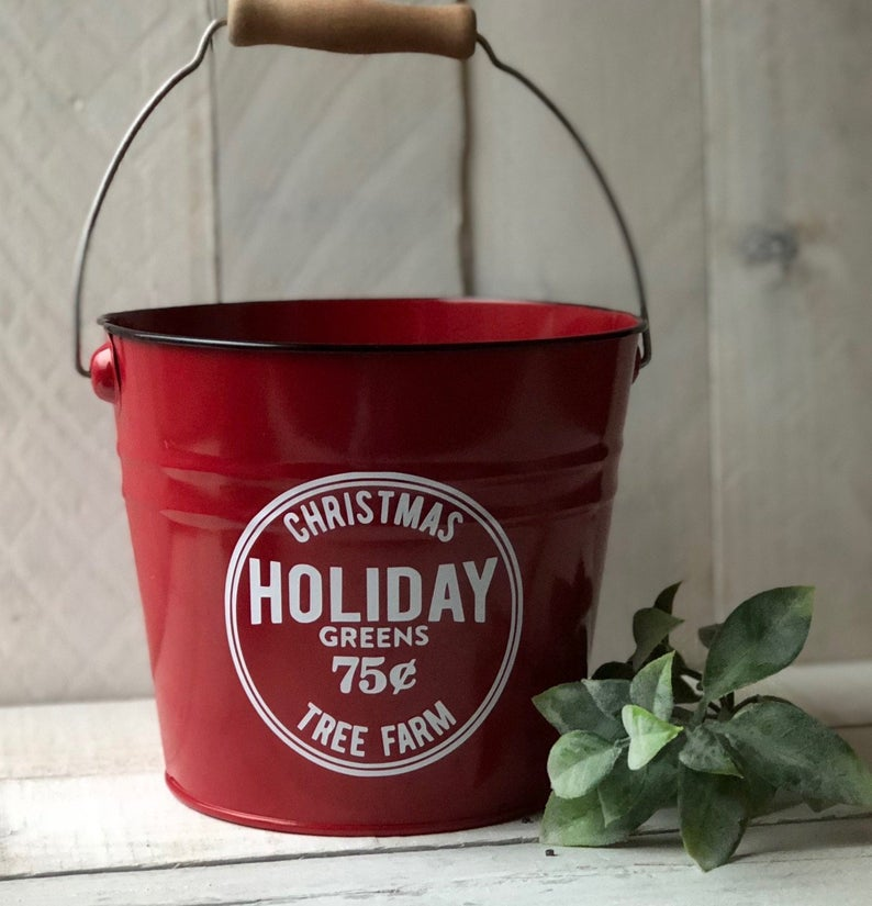 Farmhouse Christmas Decor,Holiday Greens Pail, Holiday Greens Bucket,Decorated Chirstmas Pail,Tree Farm,Tree Farm Decor,Farmhouse Christmas