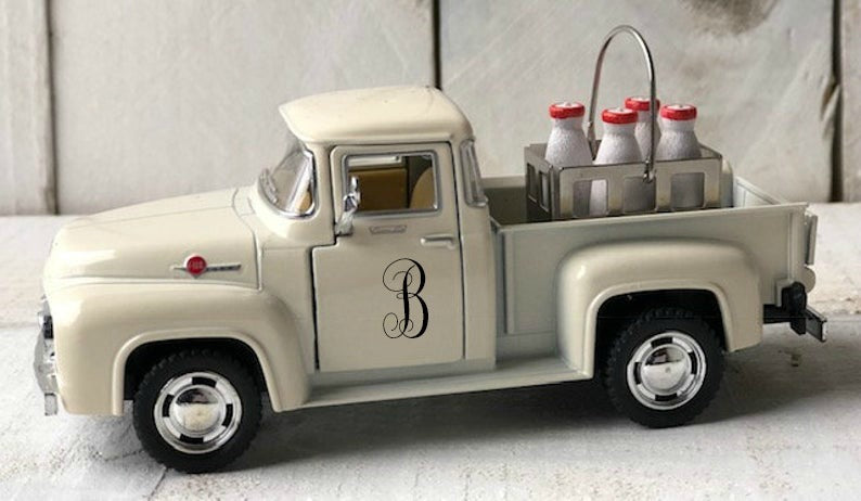 Personalized Truck, Metal Truck, Vintage Pickup Truck, Farm Truck Decor, Personalized Milk Truck