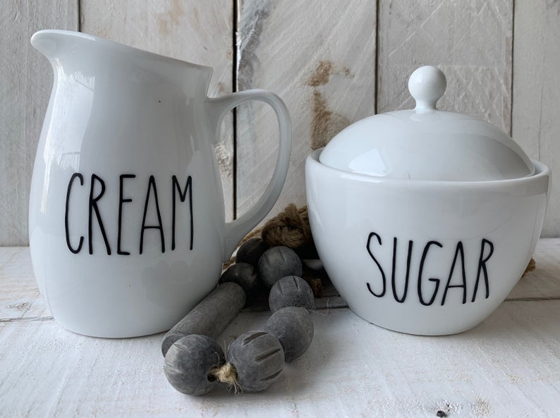 Farmhouse Kitchen Decor, Farmhouse Sugar Bowl Creamer Set, Coffee Bar Decor