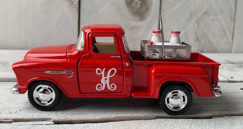 Little Red Truck, Personalized Truck, Red Pickup Truck, Farm Truck, Personalized Milk Truck