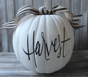 Farmhouse Inspired  HARVEST Country White Pumpkin Fall Decor Halloween Thanksgiving Decorated