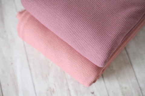 vintage pink or mauve waffle knit textured posing fabric