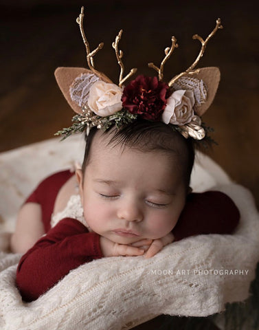 Winter Celebration red burgundy ivory christmas gold antler berry newborn fawn deer woodland  crown halo floral headband prop newborn