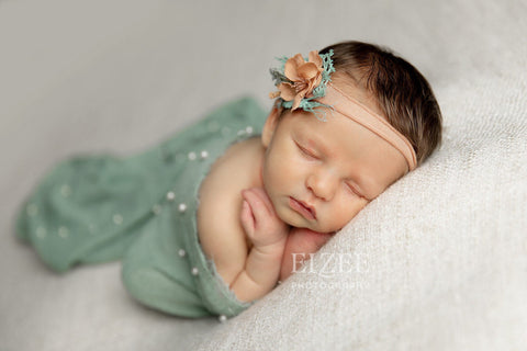 Georgia SET coral peach flower crown with sage pearl raw edge photography prop layering drape wrap for newborn photography session
