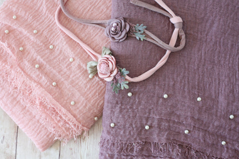 Findley SET lavender mauve pink raw edge photography prop layering drape wrap satin rosette headband tieback prop for newborn photography