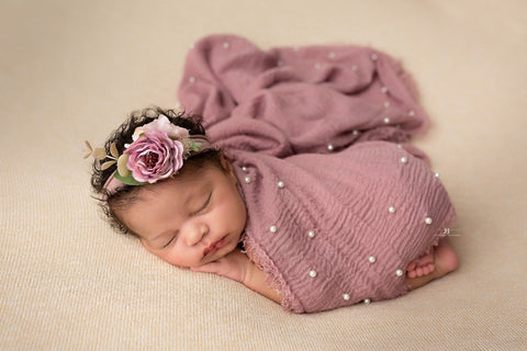 Dominique SET mauve lavender eucalyptus boho greenery flower crown vintage boho organic flower halo tieback newborn and pearl wrap layer