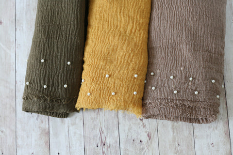 FALL PARTY mustard olive tan pearl raw edge photography prop baby layering drape wrap for newborn photography session