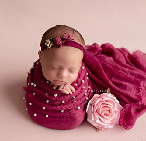 Berry pearl raw edge photography prop baby layering drape wrap for newborn photography session
