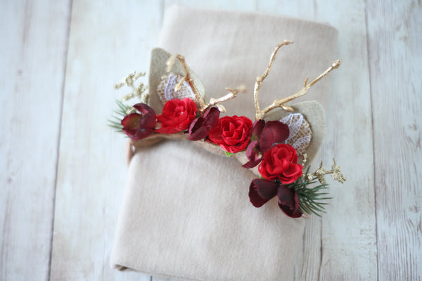 Ready to ship: SET newborn holiday deer red christmas gold antler  fawn deer headband newborn flower crown tieback and stretch wrap