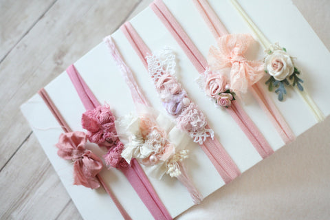 ready to ship SET blush pink nude berry newborn flower crown bow headband tieback