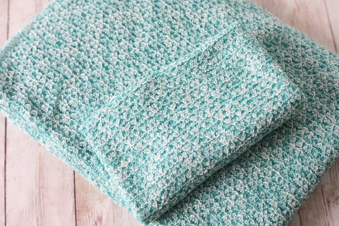 jade teal green white newborn stretch wrap sweater knit posing fabric