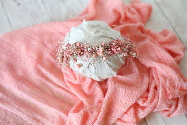 ready to ship SET coral peach textured newborn stretch wrap sweater knit and dried newborn flower crown