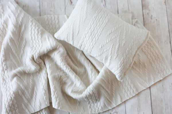 SET textured sweater knit ivory cream newborn stretch wrap and pillow