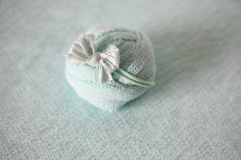 seafoam mint newborn stretch wrap sweater knit posing fabric