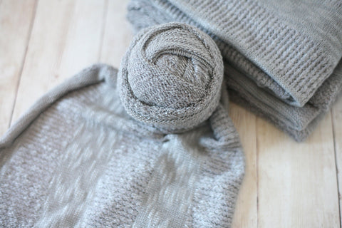 textured grey newborn stretch wrap sweater knit