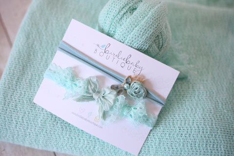 ready to ship SET seafoam mint newborn stretch wrap sweater knit posing fabric flower crown tieback