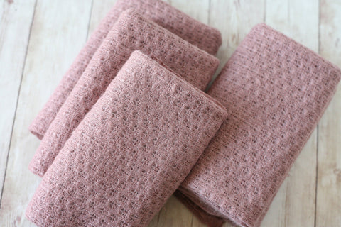 textured dusty pink mauve lavender newborn stretch wrap sweater knit