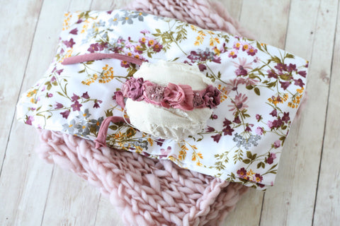 ready to ship SET Felice plum  mauve mustard grey wildflower floral newborn stretch jersey knit wrap and chunky bump blanket