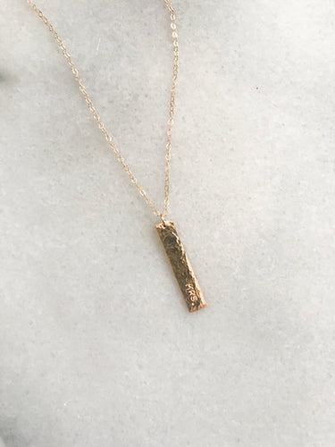 Hammered Mini Vertical Bar Necklace