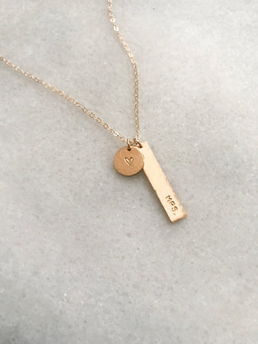 Hammered Mini Vertical Bar + Disc Necklace