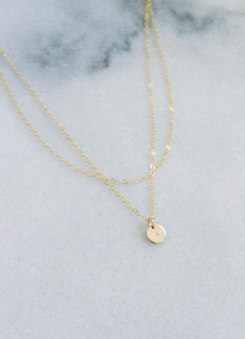 Double Wrap Mini Disc Necklace