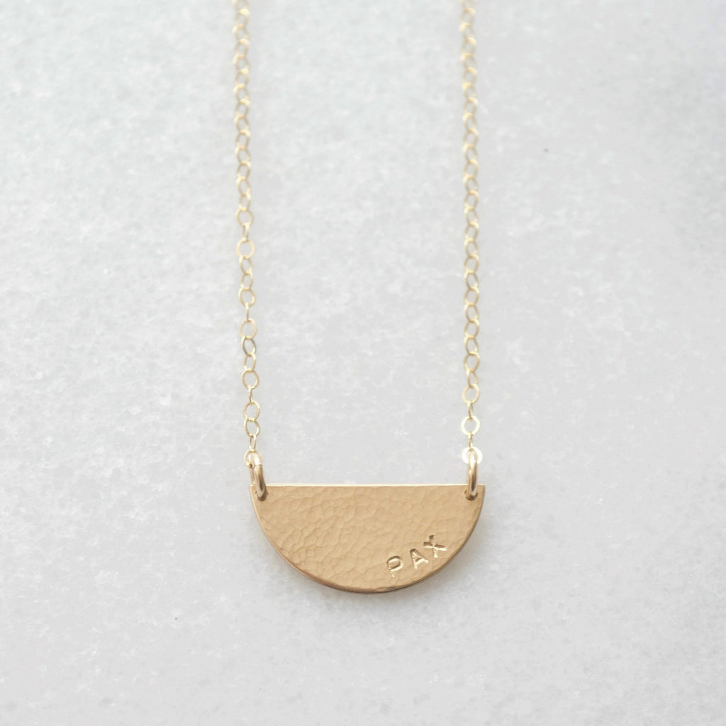 Hammered Half Moon Necklace