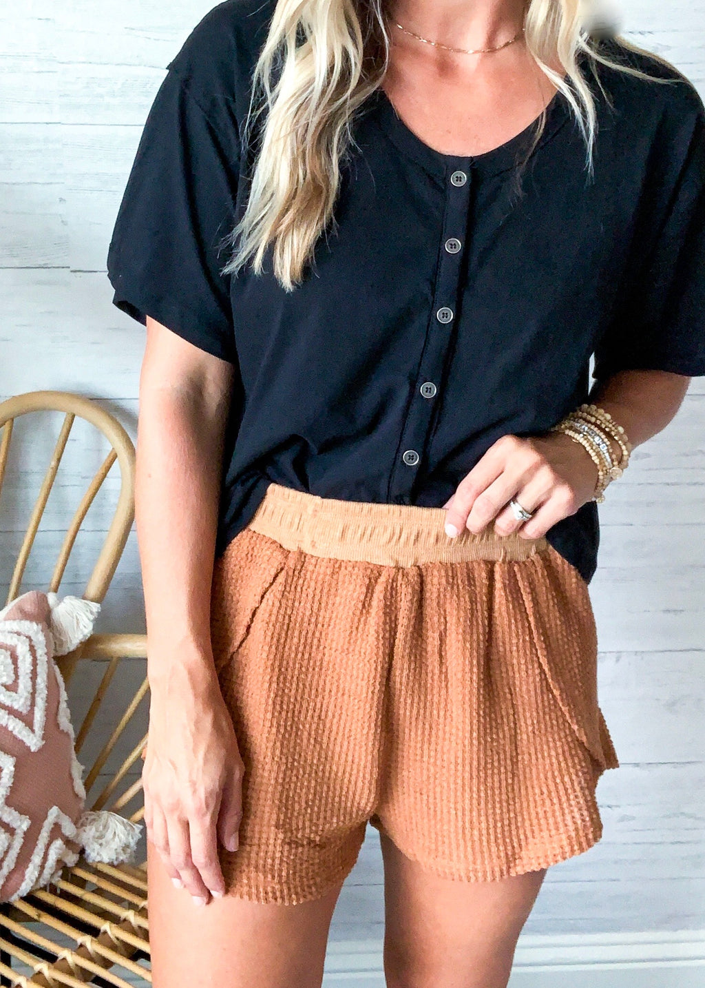Simple Life Waffle Knit Shorts