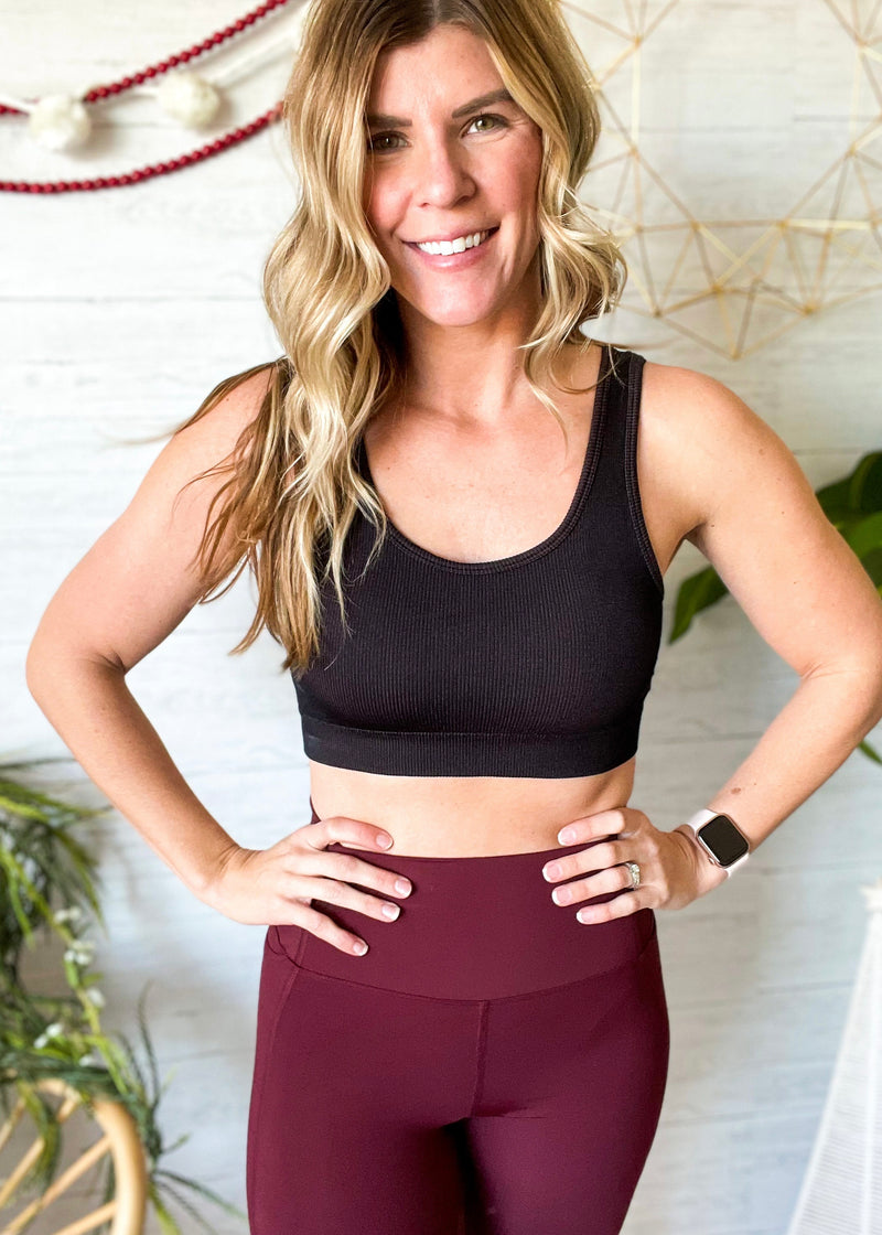Black/Rust Ribbed Sports Bra