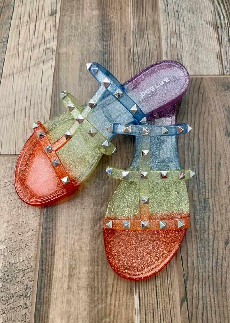 Rainbow Ombre Studded Slides