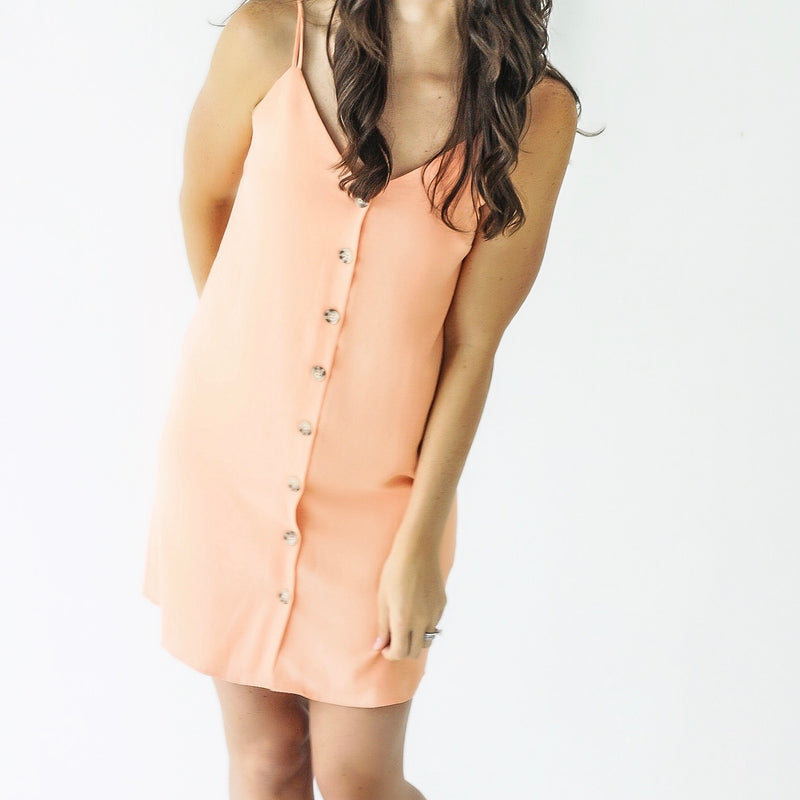 Tangerine Button Dress
