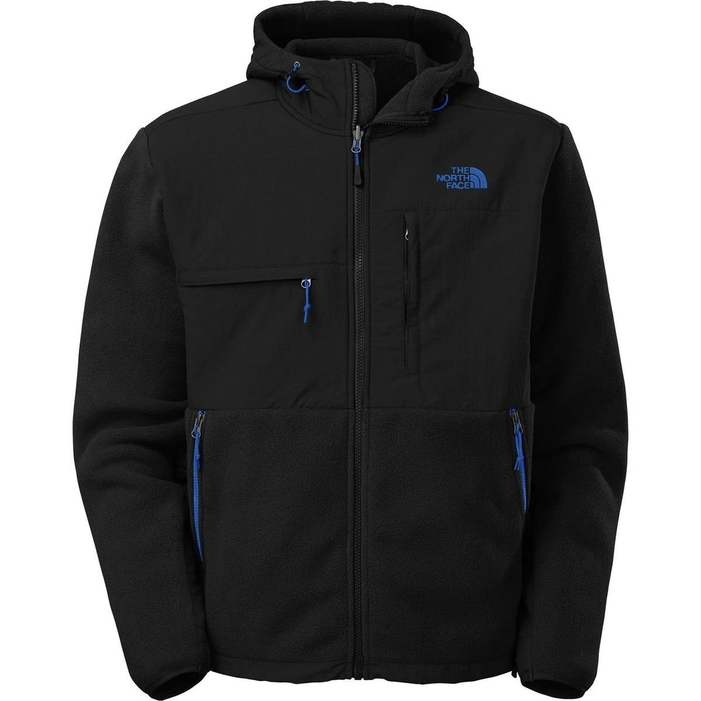 The North Face Mens Denali Hoodie Recycled TNF Black/Monster Blue AMYMCTU