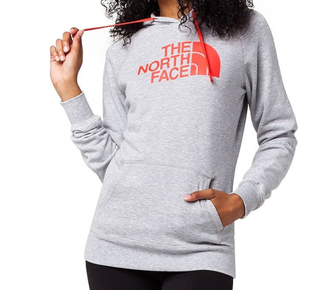 The North Face Women's Half Dome Hoodie TNF Light Grey Heather/Melon Red CH2XMPY