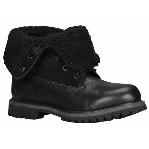 Timberland Women's Teddy Fleece Fold-Down Waterproof Black Boots 8661A