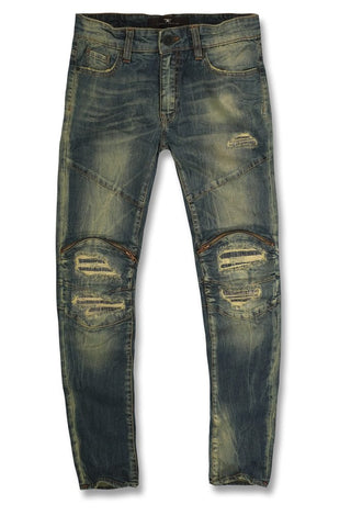 Jordan Craig Biker Jeans With Rips & Zippers