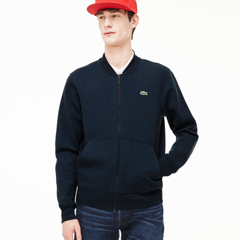 Lacoste Men's Unisex L!ve Doubel Face Bomber Sweatshirt Jacket Midnight Blue Chine SH9218 4GX