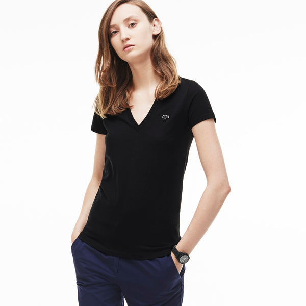 Lacoste Women's Jersey Cotton V-neck T-shirt TF7880